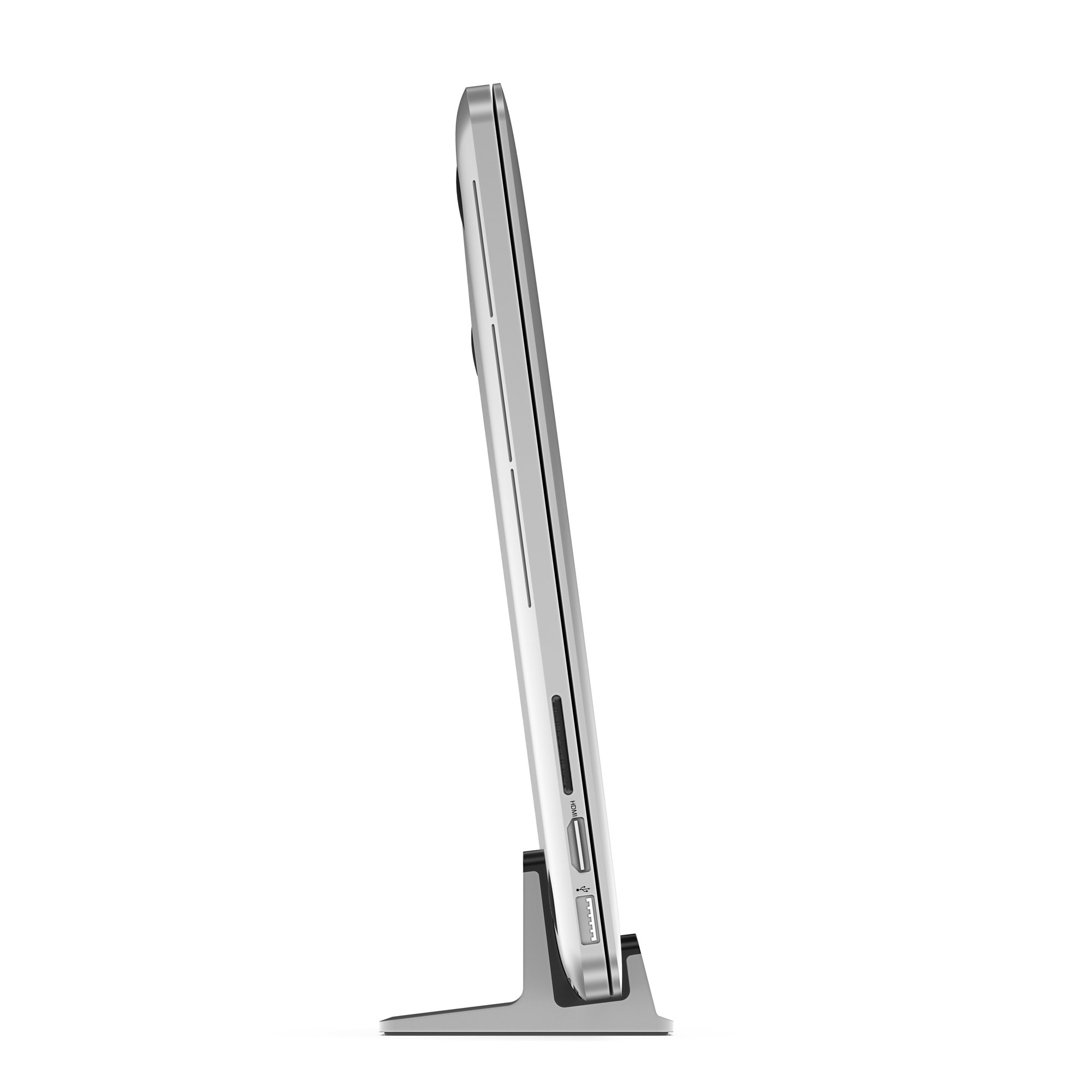 UPPERCASE KRADL Pro Small Profile Aluminum Vertical Stand for Retina MacBook Pro 13'' or 15'' (2012 to 2015 Releases), Silver/Black by UPPERCASE (Image #6)