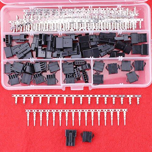 Hilitchi 274pcs(25set) 2.5mm Pitch 4-Pin JST SM Male & Female Plug Housing Male/female Pin Header Crimp Terminals Connector (Pin Female Crimping Housing)