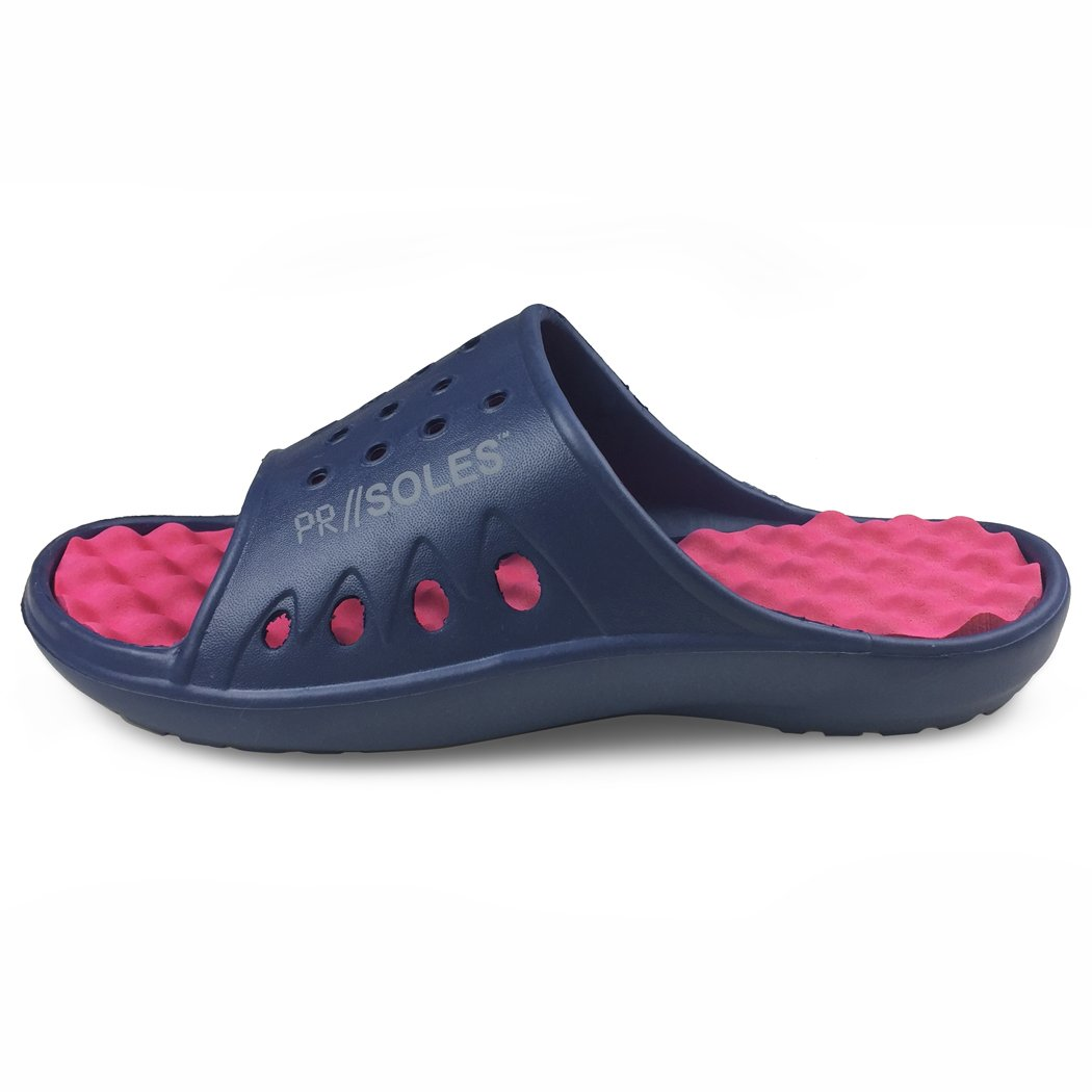 PR SOLES Recovery Sandals | Sports Glides for Men and Women | Great for Athletes | Navy Blue/Pink XXS | (W) 5 - 6.5 by Gone For a Run (Image #1)