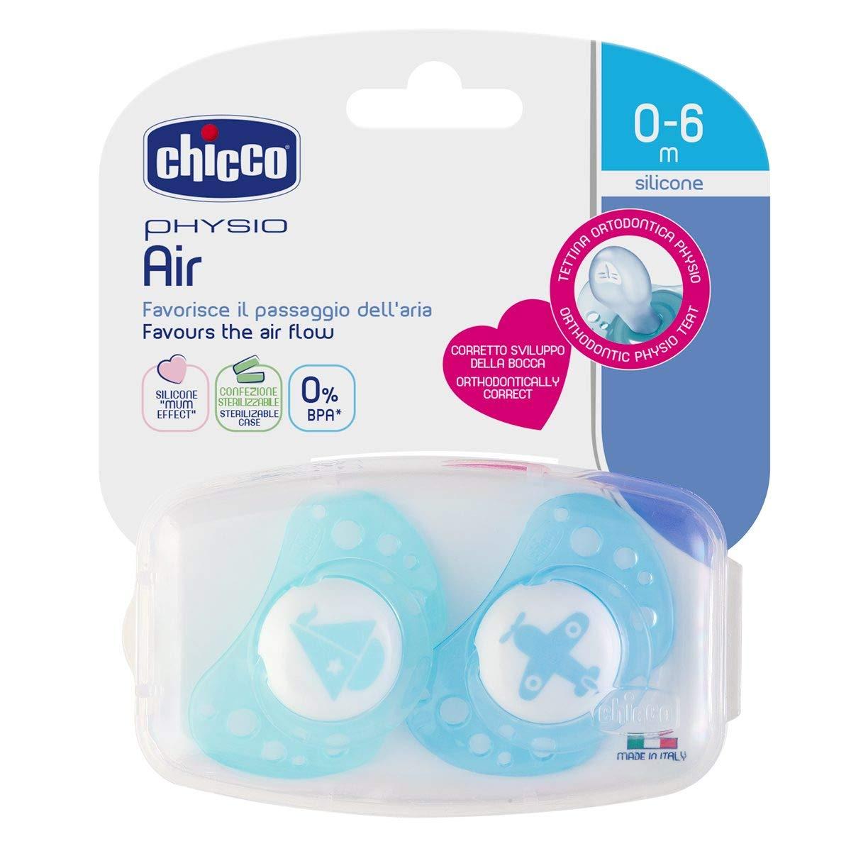 Chicco Physio Air - Pack de 2 chupetes de silicona para 0-6 meses, modelos aleatorios, color azul