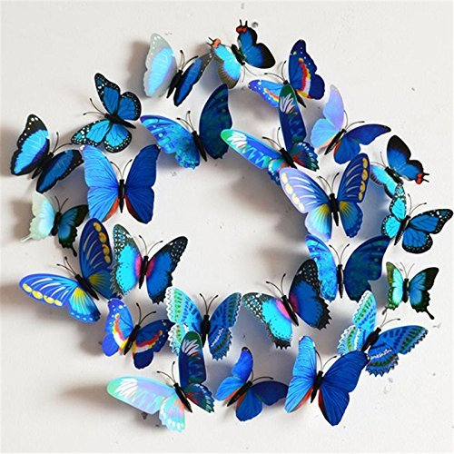 Margoth 24Pcs Home Decoration poster DIY 3D Butterfly Wall Stickers Creative Colorful Blue wall decor hot sale -