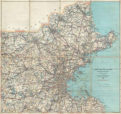 Historic Map | Walker Antique Map of Boston, and Vicinity, North Shore (Cape Ann), Massachusetts, 1902 | Historical Antique Vintage Decor Poster Wall Art | 24in x 24in