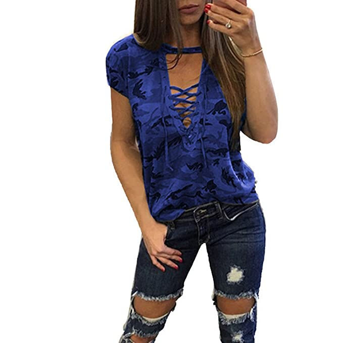 Casual Mujer Camiseta EUZeo Sexy Camuflaje Impresión Blusa Vendaje Manga Larga Camisetas Cuello V Camisas Sport