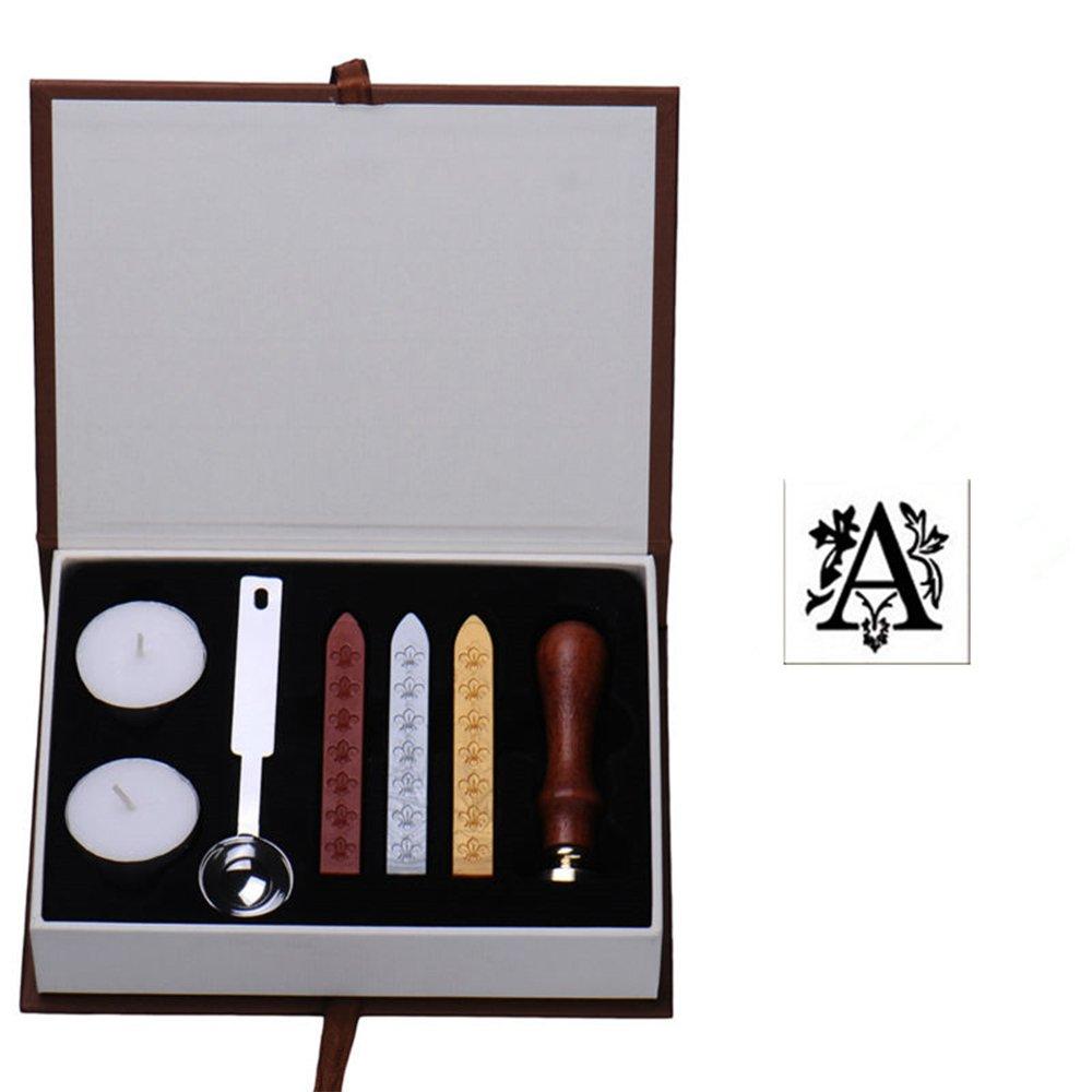 Kit de Sello de Cera,GZQ,Juego de sellos de cera con letras de la A a la Z,Retro Sello de Cera invitación,carta, envolver,tarjeta de felicitación (Letra A)