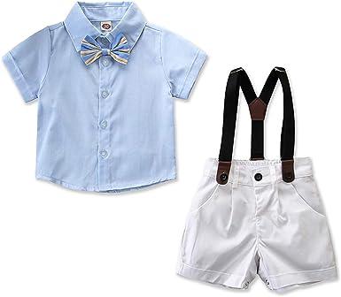 Camisa con Pajarita para bebé y pantalón con Tirantes para Caballero, Talla 5 años: Amazon.es: Ropa y accesorios