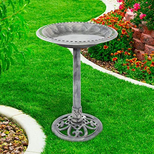 Pure Garden 50-LG1073 Antique Bird Bath-Weather Resistant Resin Birdbath with Vintage Scroll Design, 3 Ground Stakes for Garden, Outdoor Decor (Grey)