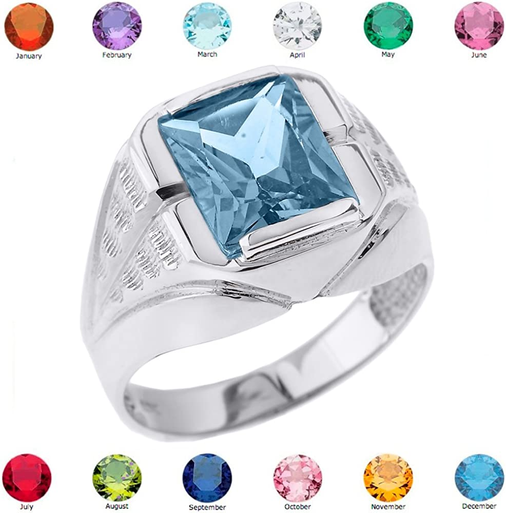 Size 14.5 Mens 925 Sterling Silver Personalized CZ Birthstone Statement Ring