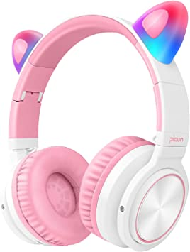 Amazon Com Picun Bluetooth Headphones Over Ear 40h Playtime Wireless Headphones On Ear Cat Ear Led Light Up With Mic And Volume Control Fodable Headset For Kids Girls Support Wired Wireless Tf White Pink Home