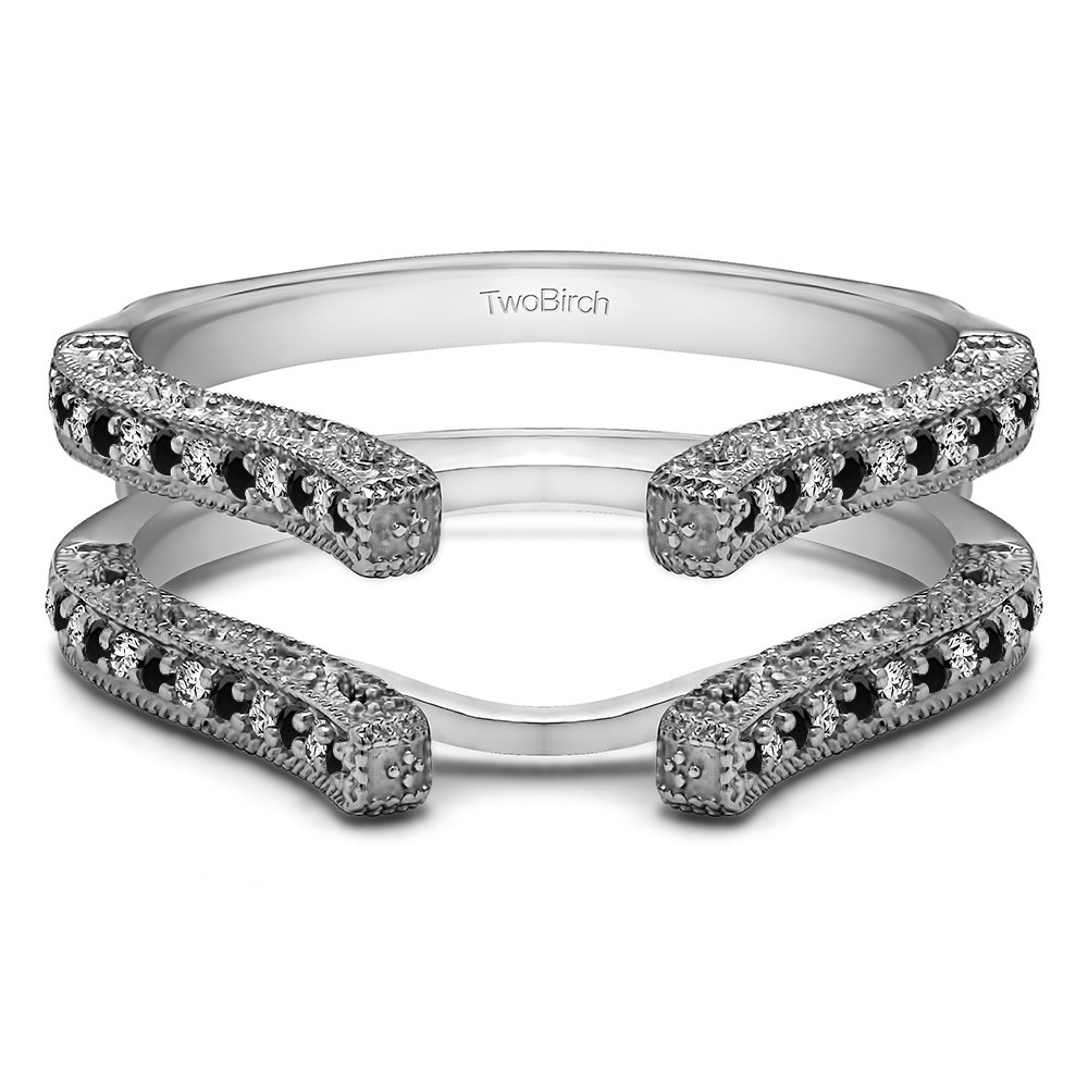 TwoBirch 0.36 ct. Black And White Cubic Zirconia Cathedral Filigree Wedding Ring Guard in Sterling Silver (3/8 ct.)