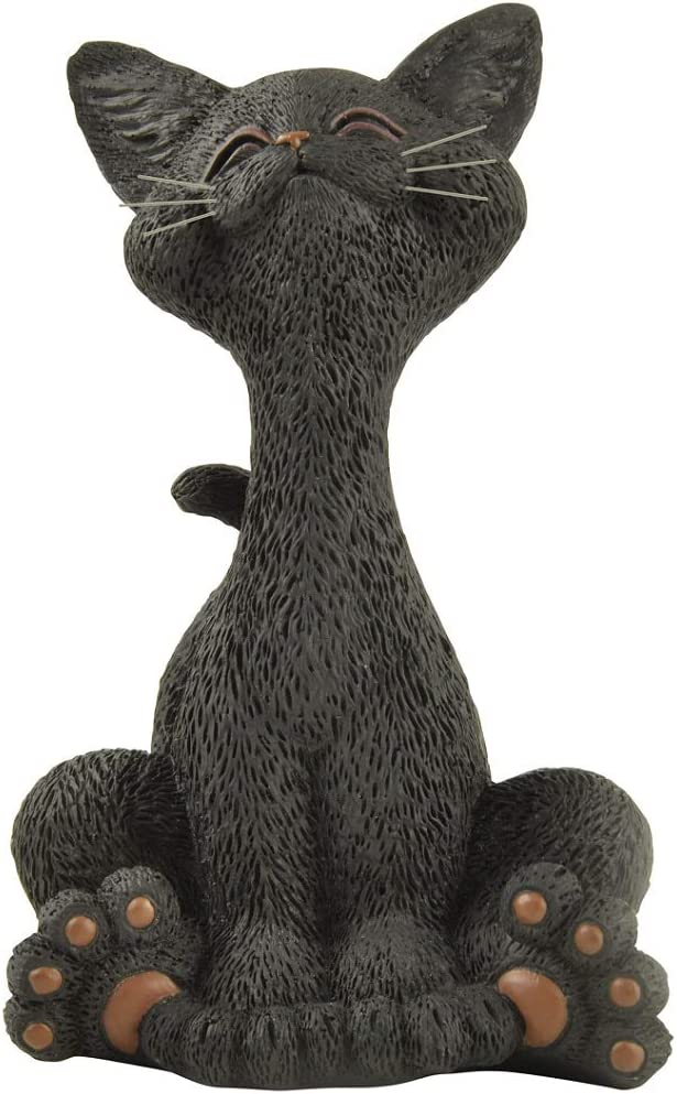Whimsical Smiling Black Cat Figurine Funny Collectible - Happy Cat Collection - Cat Lover Gifts for Women, Cat Lover Gifts for Men, Cute Cat Gifts, Cat Office Desk Accessories, Cat Desk Decoration