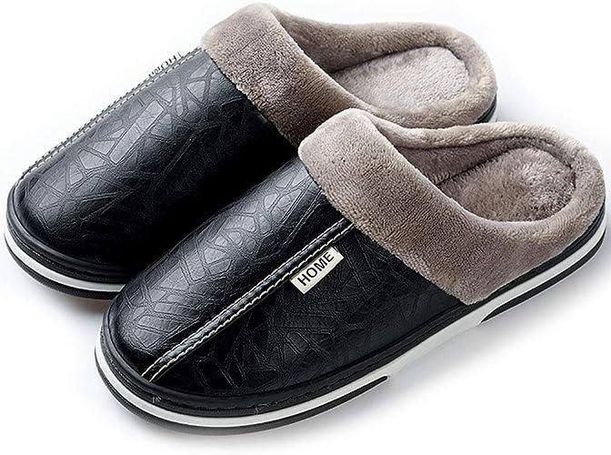 Hishoes Zapatillas Mujer Invierno Hombre Resistente al Agua Interior Casa Caliente Slippers Suave Algodón Zapatilla Pareja Zapatos