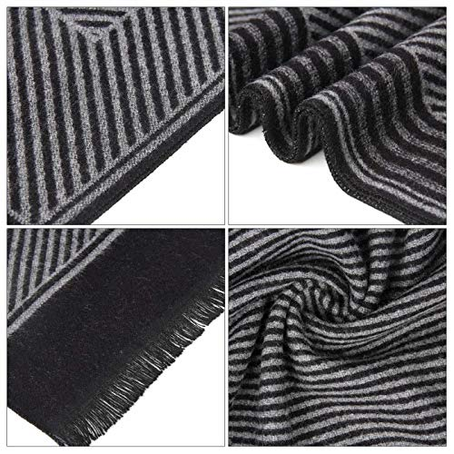 Men Business Striped Warm Scarves Long Classic Pattern Cashmere-like Scarf Stylish Casual Men Neckerchief Black by Panegy (Image #8)