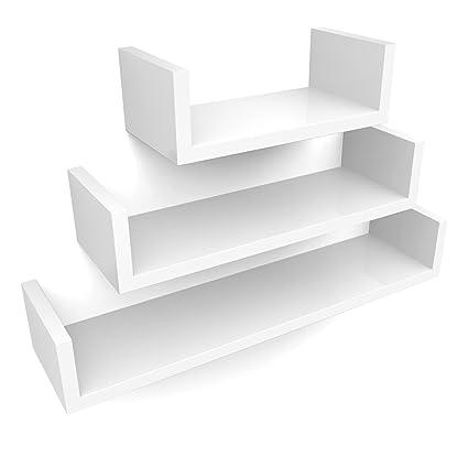 SONGMICS Estantería para Pared Juego de 3 estantes para Libros CDs  Estanterías de Pared Cubos Retro b3c00f5261a8