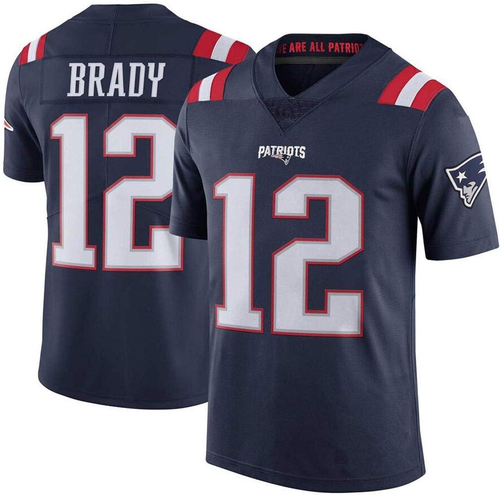 cjbaok Camiseta de fútbol para Hombre Patriots NFL # 12 Elite Edition Jersey de Manga Corta con Estampado Top Fan T-Shirts