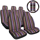 """Copap Multi-Color Baja Saddle Blanket Car Seat Cover 10pc Universal Seat Cover Full Set with 15"""" Steering Wheel Cover & Seat Belt Protectors fits Car, SUV & Van"""