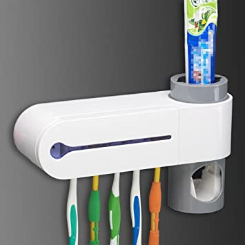 Miyare esterilizador de cepillo de dientes con pasta de dientes dispensador de desinfección luz Sanitizer cepillo de dientes UV Esterilizador de limpieza ...