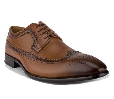 41f20d77a4c2 J'aime Aldo Majestic Men's 97713 Distressed Perforated Brogue Lace up Dress  Shoes, Cognac