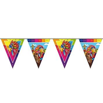 NET TOYS Guirnalda de Banderines India - 10 m | Festón de Banderolas Cumpleaños Infantil | Decoración Fiesta Temática de Indio | Ornamentación Oeste ...