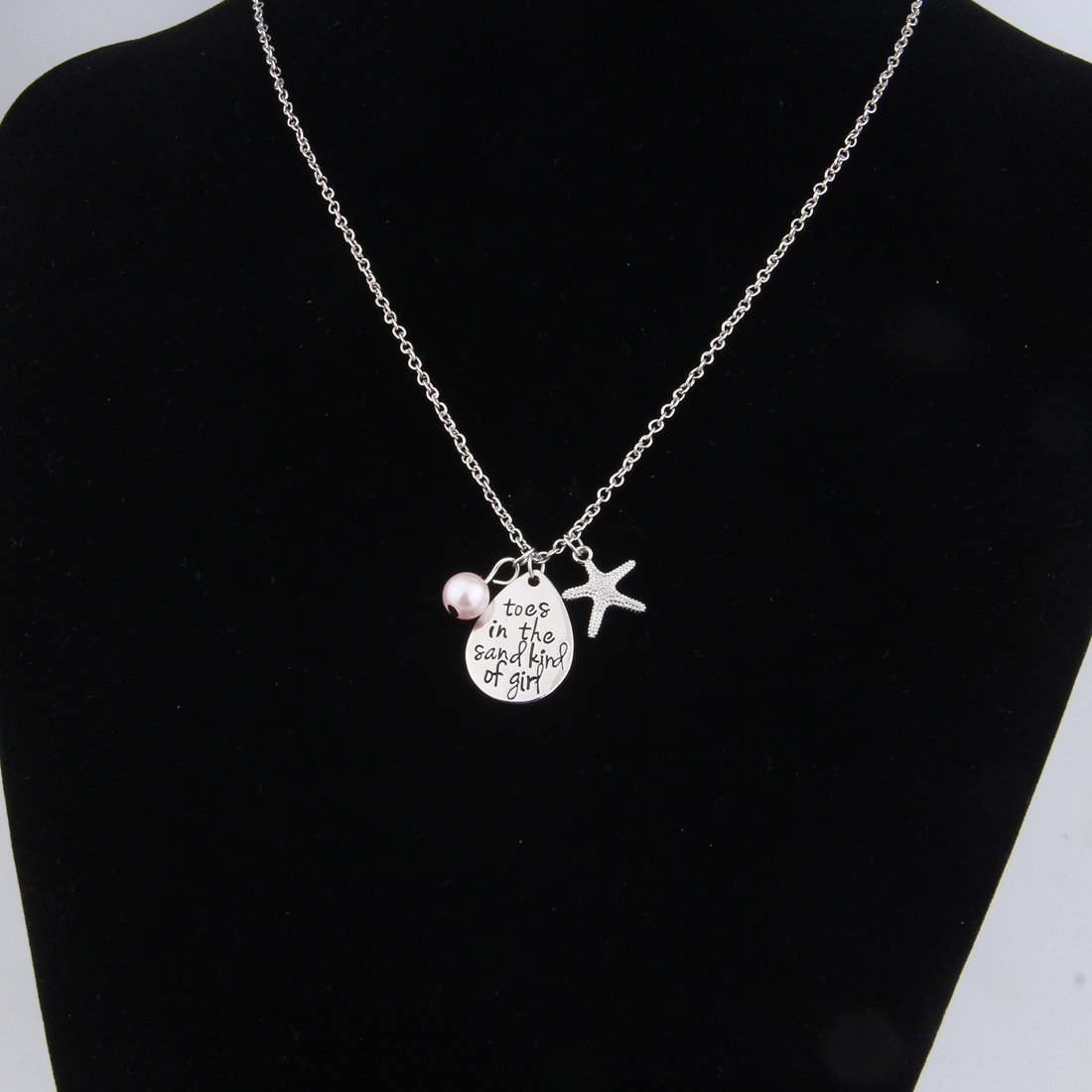 ENSIANTH Toes In The Sand Kind of Girl Engraved Charms Necklace Beach Jewelry with Starfish (waterdrop necklace) by ENSIANTH (Image #2)
