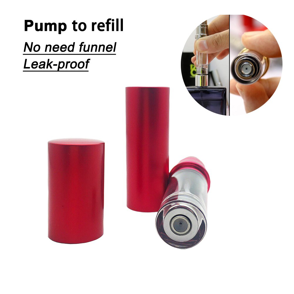 Refillable Perfume Bottle Atomizer for Travel, Yeejok Portable Easy Refillable Perfume Spray Pump Bottle for Men and Women with 5ml Pocket Size-Red