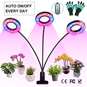 Grow Light for Indoor Plants, 36W LED Full Spectrum Plant Lights, Auto ON/Off Timer, 8 Dimmable 4/8/12H Timing Triple Head Gooseneck Plant Growing Lamp for House Garden Herbs Succulents Hydroponics
