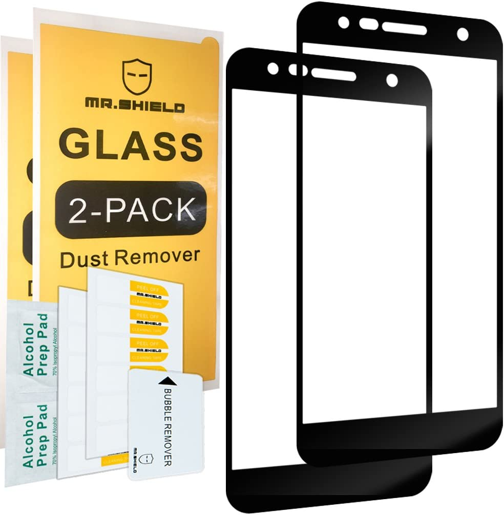 [2-Pack]-Mr.Shield for LG X Charge [Tempered Glass] [Full Cover] [Black] Screen Protector with Lifetime Replacement