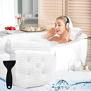 Bath Pillow Bathtub Pillow - Bath Pillows for Tub with Neck, Head, Shoulder and Back Support - 4D Air Mesh Spa Pillow for Bath - Extra Thick, Soft and Quick Dry