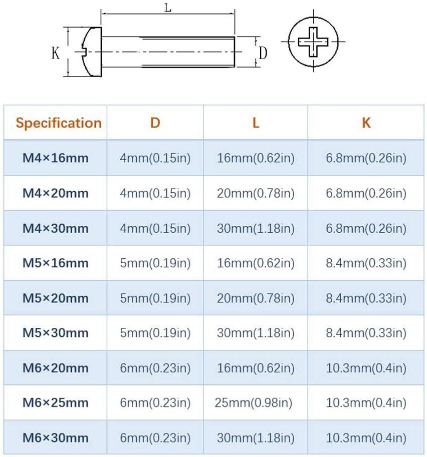 M5/×20 mm Boulons et /écrous en Acier Inoxydable 304 Croix T/ête Pan M/écanique Boulon Vis a Tete Ronde 90 PCS