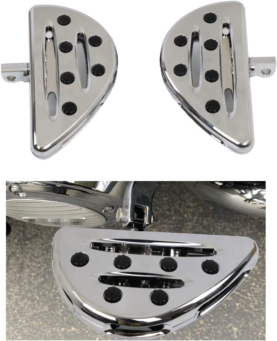 Pack 2 AUFER Chrome Billet Front Driver Floor Board Pedal Rear Passenger Floorboards Foot Pegs Rest for Sportster Fatboy Dyna Softail Touring Street Road Glide Road King Male Mount