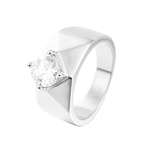 ANAZOZ Stainless Steel Customize Womens Rings Cubic Zirconia Wedding Bridal Rings Size 8