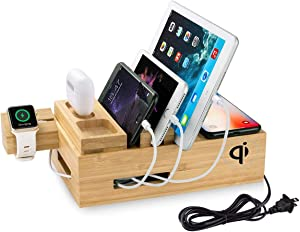 Woodbaby Airpods Charging Station 3 in 1 for Apple Watch Ipad Pro iPhone Charging Station Dock Cable 3 USB Charging Organizer Bracket for All Smartphone Series 4.7 to 12.5 Inch …