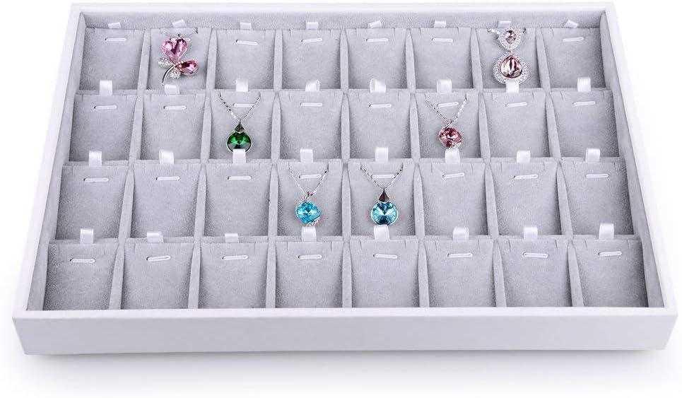 Oirlv Bandeja de cajones de joyería de Cuero Blanco Bandejas de joyería apilables de Microfibra Interiores Almacenamiento de baratijas de escaparate (Bandeja de Collar de 32 Rejillas)