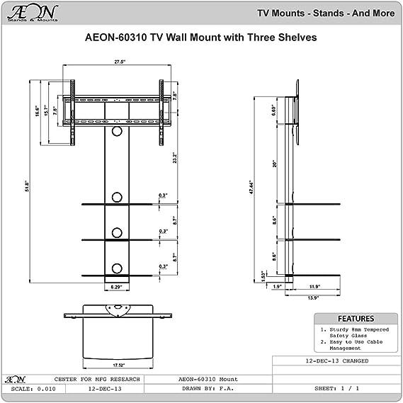 Aeon Stands y soporte giratorio Soporte de pared para TV con tres estantes, color negro: Amazon.es: Electrónica