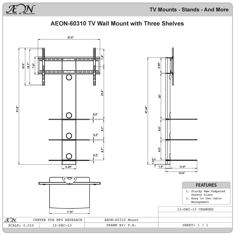 Buy Aeon Stands And Mounts Swiveling Tv Wall Mount With Three Wiring For Shelves Black Online At Low Prices In India