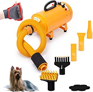 Free Paws Pet Dryer for Dog Cat Hair Blower, Portable Grooming Professional 4HP Forced Air Force Dryer for Dogs with Heating, for Large Small Pets Dogs Cats, Variable Speed (Yellow)