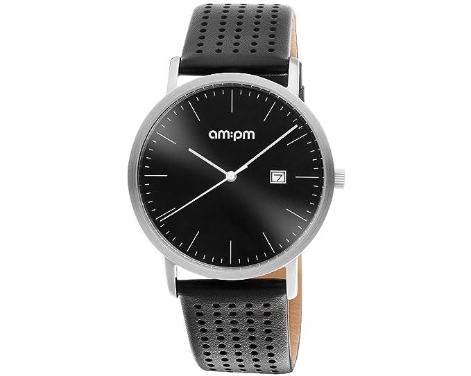 Reloj AM: PM Design Hombre Acero Satinado Piel Black Dial Data pd148-u308