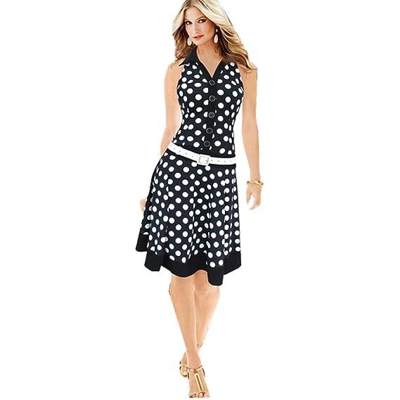 Vestidos elegantes mujer largos 2018, VENMO Las mujeres de moda polka dot vestido sin mangas con cuello en V vestido de una sola pieza: Amazon.es: Ropa y ...
