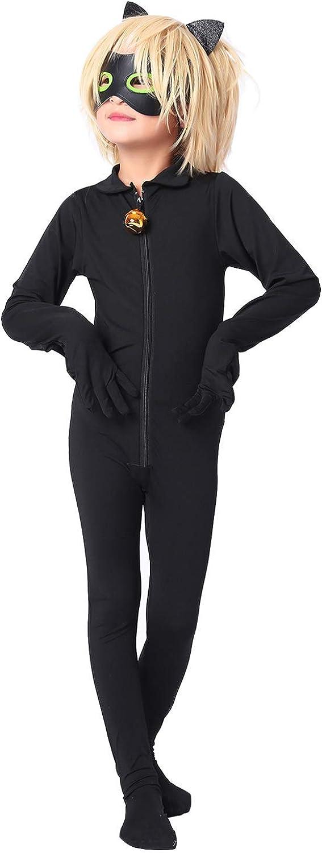 Shorafu Kids Cat Cosplay Jumpsuit Boys Girls Costume Black Cat Noir Cosplay Costume Halloween Party Masquerade