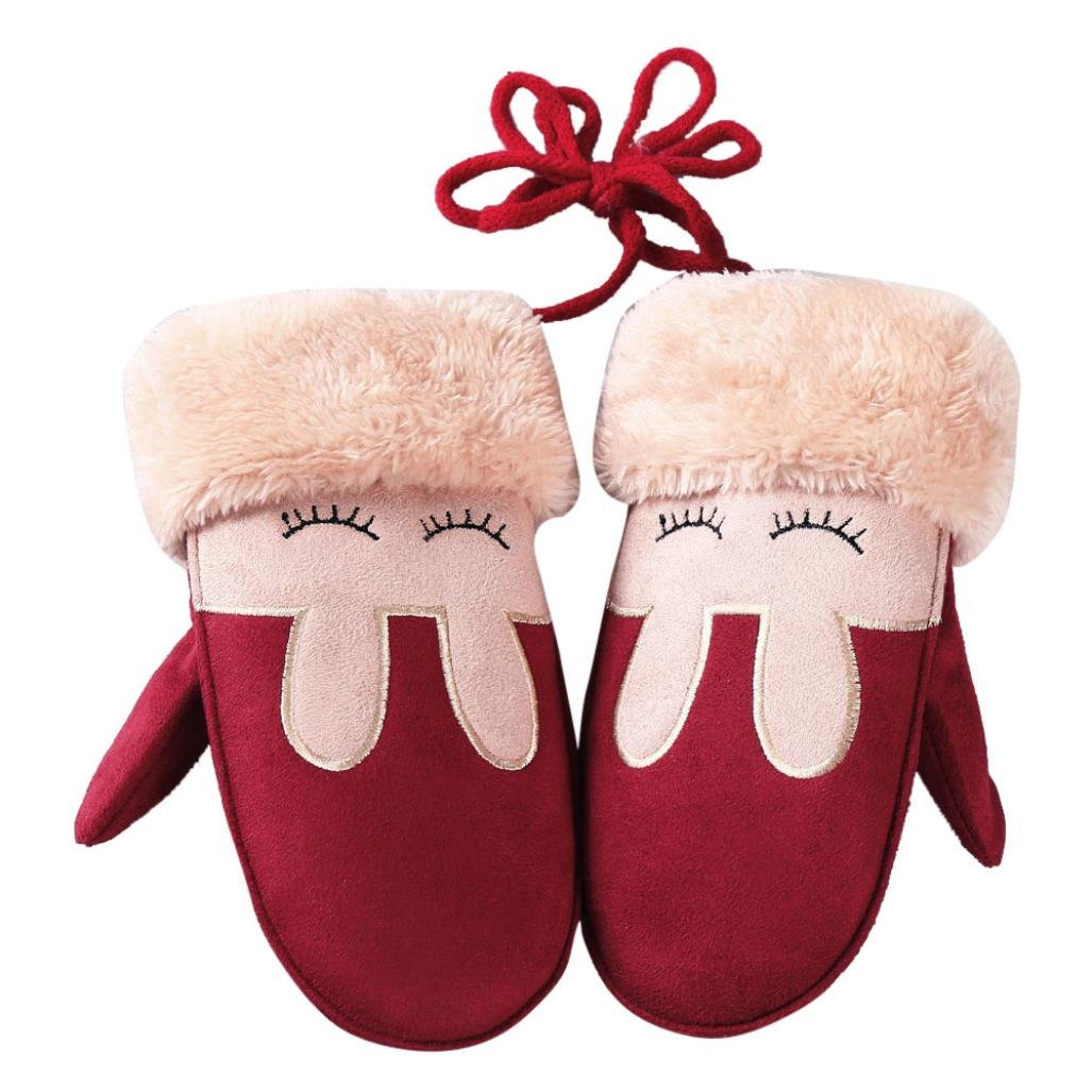 Highpot Baby Girl Boy Winter Knitted Gloves Kids Cute Rabbit Mittens With String