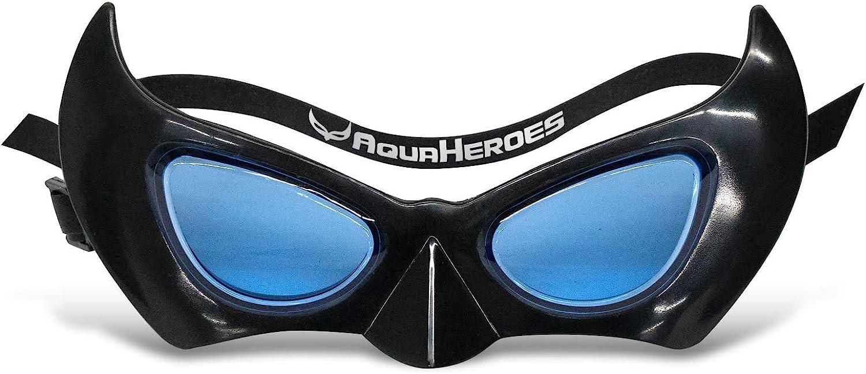 AquaHeroes Superhero Kids Swimming Goggles, Super Heroes Themed Adjustable Swim Mask, Black, For Ages 3 to 8 (Anti Fog, UV Protection, Latex Free, Leak Proof)