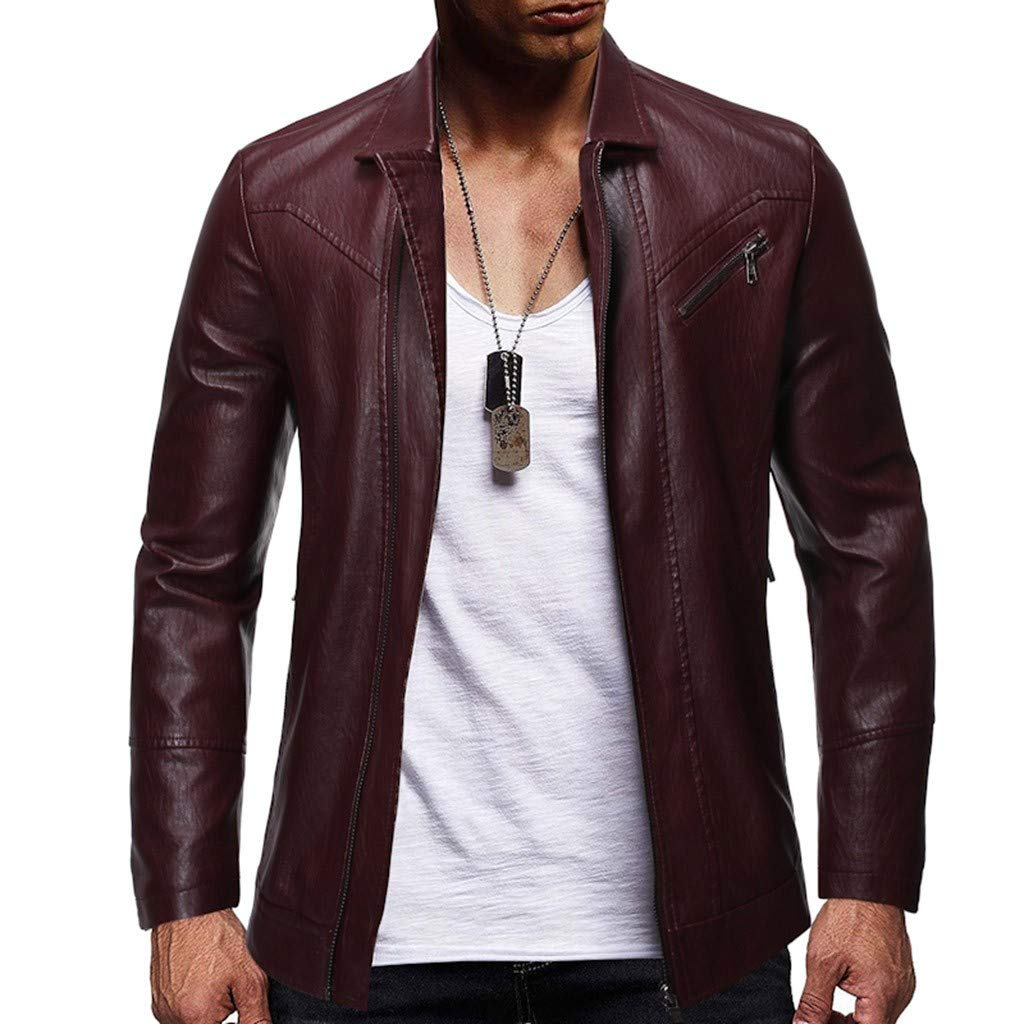 Baiggooswt Men's Leather Trench Coat Men Casual Lapel Open Front Long Sleeve Coat Leisure Zipper Windbreaker Business Jacket Wine