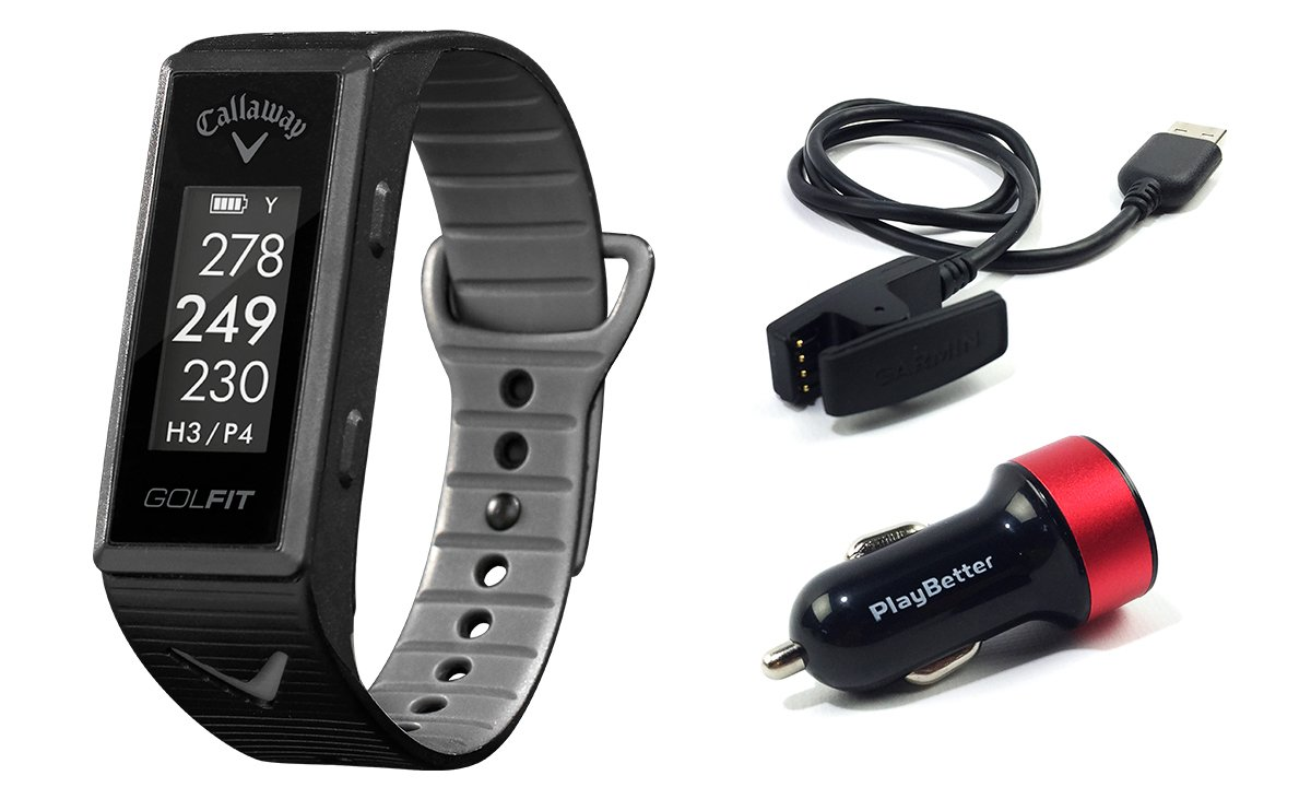 Callaway GOLFIT (Black) Golf & Fitness GPS Band Bundle with PlayBetter USB Car Charge Adapter | Fitness & Activity Tracker, Smart Notifications & 30,000+ Worldwide Courses