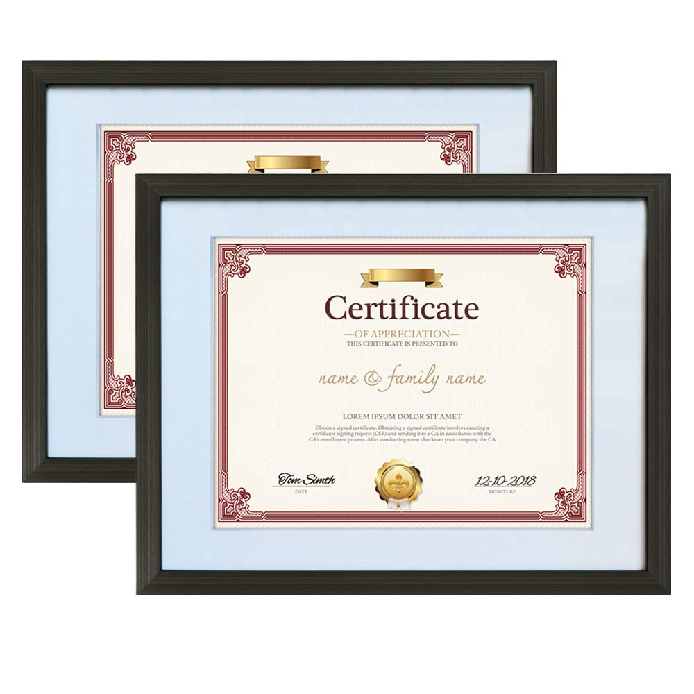 Amazing Roo 8.5 x 11 Document Frames with Mat Made for 11x14 Inch Picture Frame Without Mat Wall and Tabletop Display 2 Pack, Black
