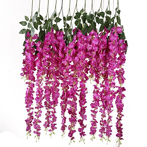 Artificial Silk Wisteria Vine Rattan Garland Fake Hanging Flower Wedding Party Home Garden Outdoor Ceremony Floral Decor,3.18 Feet, 6 Pieces (Rose Red-2) from Veryhome