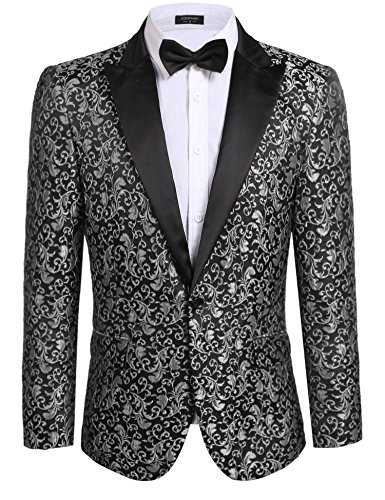COOFANDY Men's Floral Party Dress Suit Stylish Dinner Jacket Wedding Blazer One Button Tuxdeo Grey US XL(Chest 49.6)