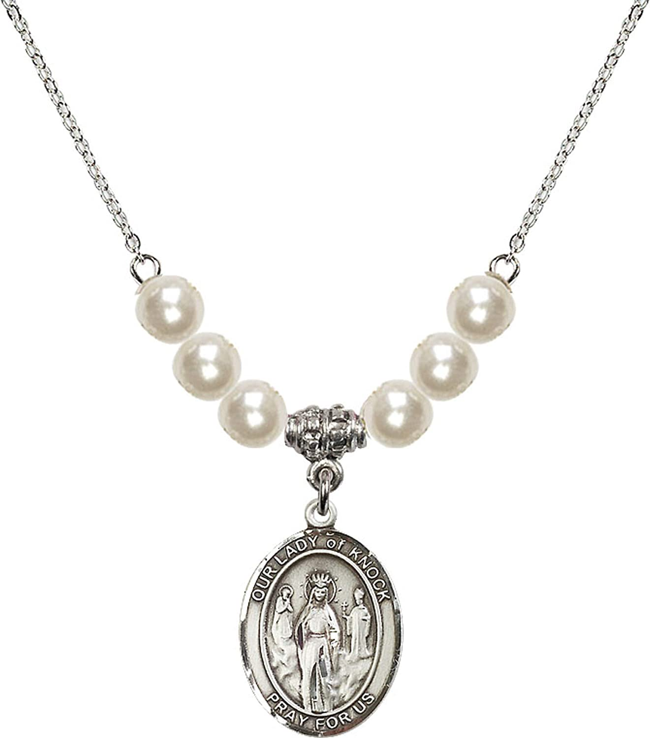 Bonyak Jewelry 18 Inch Rhodium Plated Necklace w// 6mm Faux-Pearl Beads and Our Lady of Knock Charm