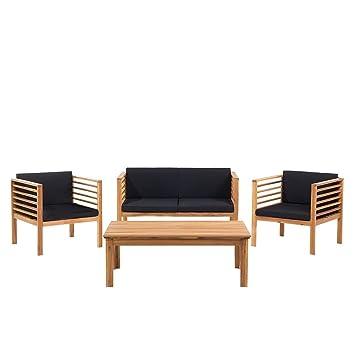 Ensemble de Jardin - Table chaises et Banc- Acacia - Marron ...