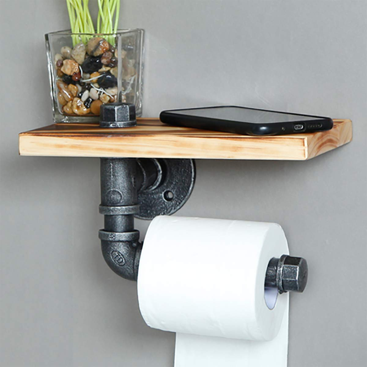 Industrial Retro Pipe Bathroom Wall-mounted Shelf Tissue Roll Hanger,Towel Rack,Clothes Rack,Kitchen Wine Rack,Toilet Paper Holder 9.8 inch by HANS CAO