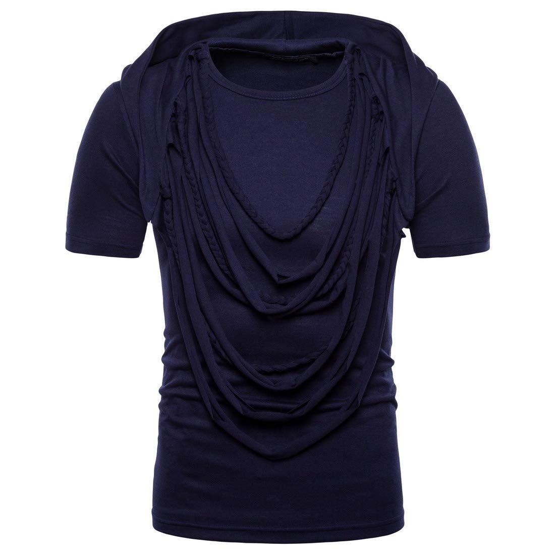 CuteRose Mens Sports Big /& Tall Hoode Short Sleeve Summer Shirt Top