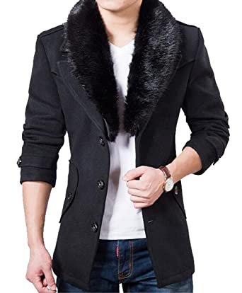 YUNY Mens Vogue Faux Fur Collar Single Breasted Slim Fit Pea Coat ...